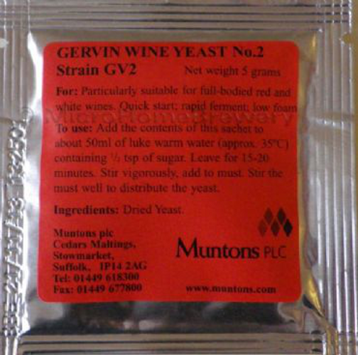 Gervin GV2 Wine Yeast